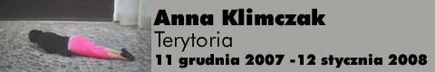 Galeria xx1 - Anna Klimczak – Terytoria