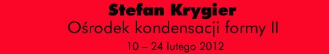 Galeria xx1 - Stefan Krygier – Ośrodek kondensacji formy II