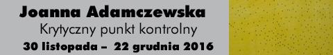 Galeria xx1 - JOANNA ADAMCZEWSKA<br>KRYTYCZNY PUNKT KONTROLNY