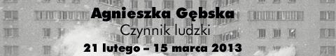 """Galeria xx1 - Agnieszka Gębska """"Czynnik ludzki"""""""